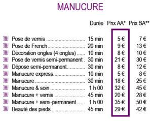 tarif manucure