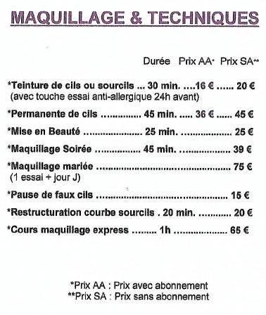 tarif maquillage